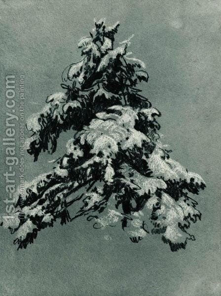 Pine in the snow by Ivan Shishkin - Reproduction Oil Painting