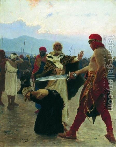 Nicholas of Myra eliminates the death of three innocent prisoners by Ilya Efimovich Efimovich Repin - Reproduction Oil Painting