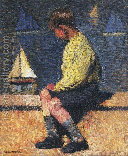 A Boy with Sailboats by Henri Martin - Reproduction Oil Painting