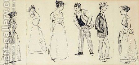 Six Croquis de Personnages by Theophile Alexandre Steinlen - Reproduction Oil Painting