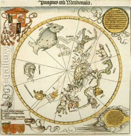 Map of the Southern Sky, with representations of constellations, decorated with the crest of Cardinal Lang von Wellenburg, and a dedication to him with his coats of arms and the Imperial copyright by Albrecht Durer - Reproduction Oil Painting