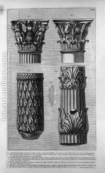 Pieces of columns and capitals 2 by Giovanni Battista Piranesi - Reproduction Oil Painting