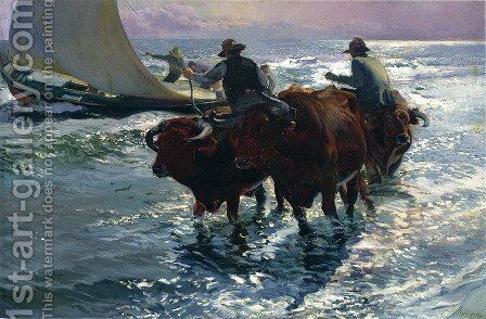 Bulls in the Sea by Joaquin Sorolla y Bastida - Reproduction Oil Painting