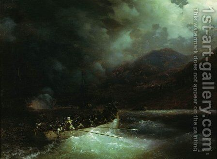 Heroine Bobolina with hunters breaks under a hail of shots on a boat through the Turkish fleet by Ivan Konstantinovich Aivazovsky - Reproduction Oil Painting