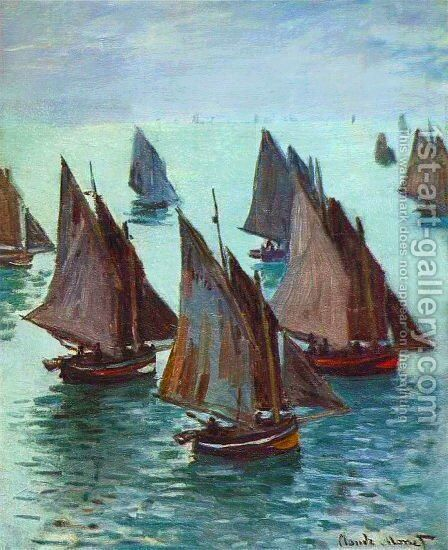 Fishing Boats, Calm Sea by Claude Oscar Monet - Reproduction Oil Painting