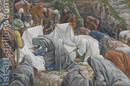 The Holy Virgin Kisses the Face of Jesus Before He is Enshrouded on the Anointing Stone by James Jacques Joseph Tissot - Reproduction Oil Painting