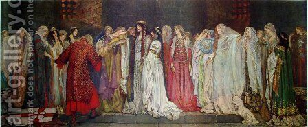 Le chateau des servantes by Edwin Austin Abbey - Reproduction Oil Painting