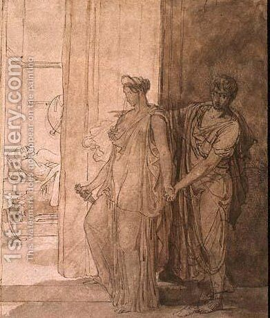 Clytemnestra hesitates before killing the-sleeping agamemnon by Baron Pierre-Narcisse Guerin - Reproduction Oil Painting