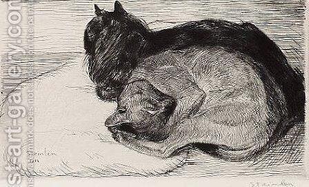 Two Sleeping Cats 3 by Theophile Alexandre Steinlen - Reproduction Oil Painting