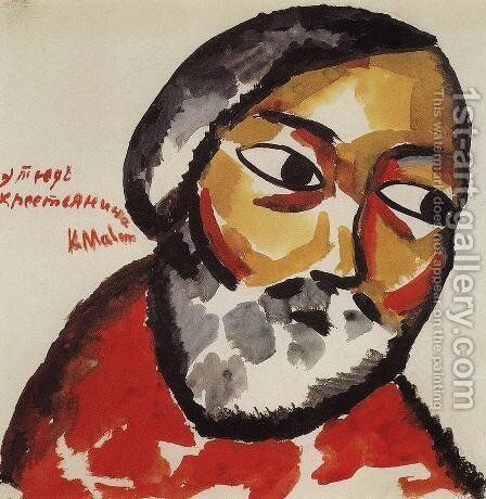 Study for Portrait of a Peasant by Kazimir Severinovich Malevich - Reproduction Oil Painting