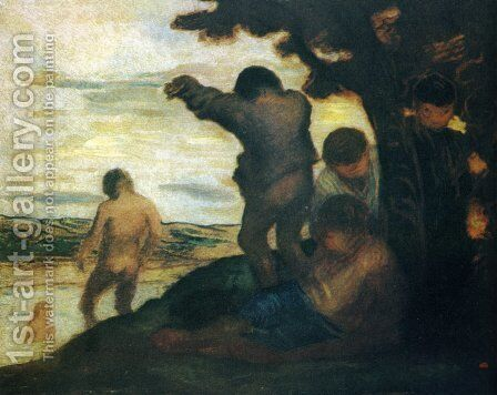 Bathers by Honoré Daumier - Reproduction Oil Painting