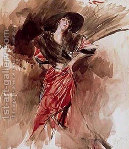 Lady in Red Dress by Giovanni Boldini - Reproduction Oil Painting