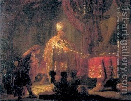 Daniel and King Cyrus in front of the Idol of Bel by Rembrandt - Reproduction Oil Painting