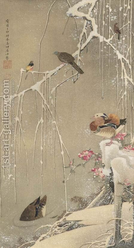 Willow Tree and Mandarin Ducks in the Snow by Ito Jakuchu - Reproduction Oil Painting