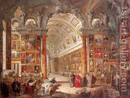 Interior of a Picture Gallery with the Collection of Cardinal Silvio Valenti Gonzaga by Giovanni Paolo Panini - Reproduction Oil Painting
