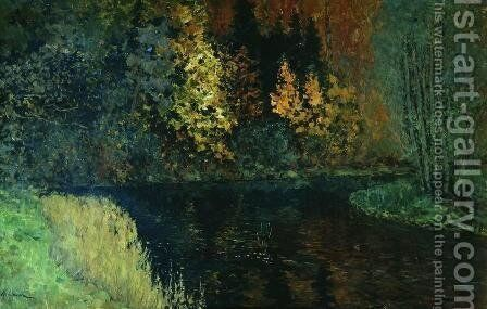 River in the forest. Autumn at river Istra. by Isaak Ilyich Levitan - Reproduction Oil Painting