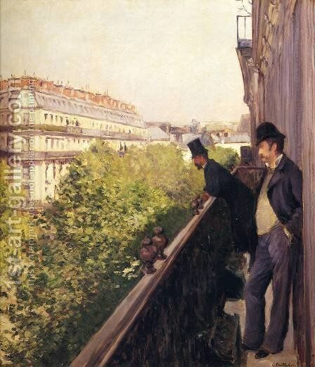 A Balcony, Boulevard Haussmann by Gustave Caillebotte - Reproduction Oil Painting