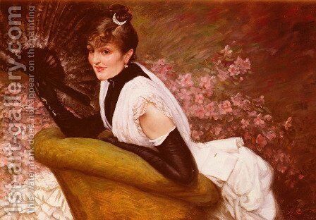 Portrait Of A Lady with a Fan by James Jacques Joseph Tissot - Reproduction Oil Painting