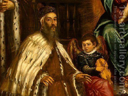 Doge Alvise I Mocenigo and Family Before the Madonna by Jacopo Tintoretto (Robusti) - Reproduction Oil Painting
