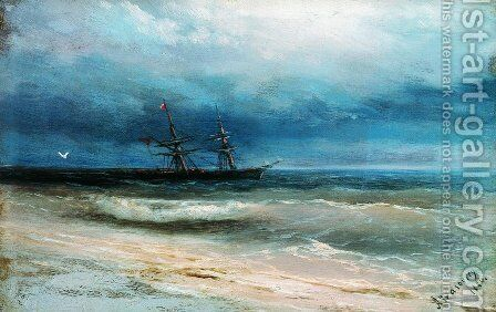 Sea with a ship 2 by Ivan Konstantinovich Aivazovsky - Reproduction Oil Painting