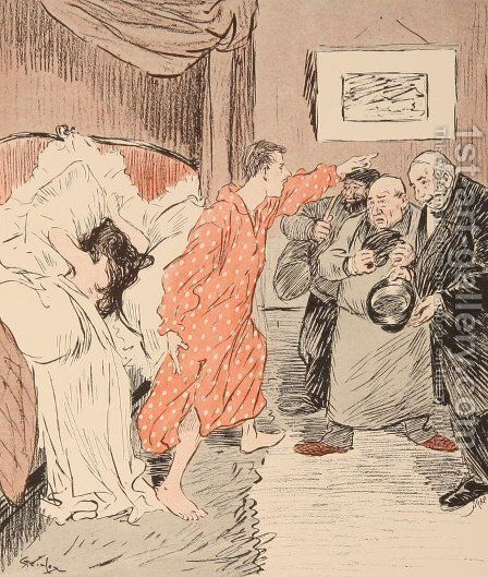 Le Verrou by Theophile Alexandre Steinlen - Reproduction Oil Painting