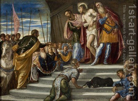 Ecce Homo(Pontius Pilate Presenting Christ to the Crowd) by Jacopo Tintoretto (Robusti) - Reproduction Oil Painting