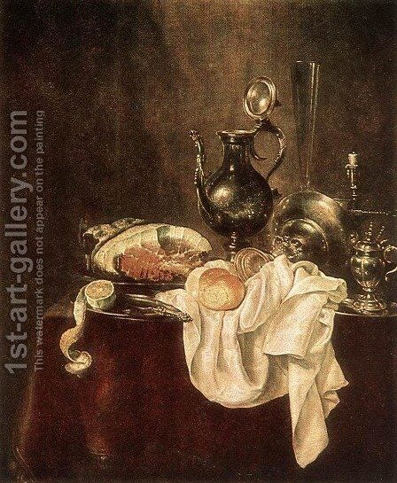 Ham and Silverware 1649 by Willem Claesz. Heda - Reproduction Oil Painting