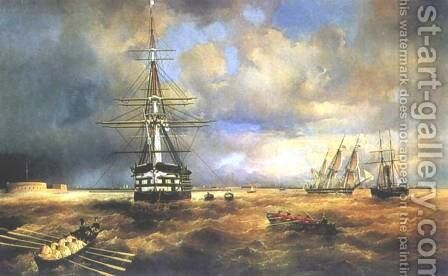 The Roads at Kronstadt by Ivan Konstantinovich Aivazovsky - Reproduction Oil Painting