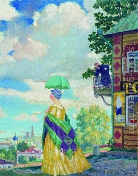 Merchant's wife on the promenade by Boris Kustodiev - Reproduction Oil Painting