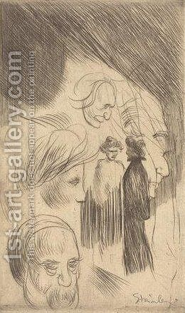 Planche de Croquis  No  8 by Theophile Alexandre Steinlen - Reproduction Oil Painting