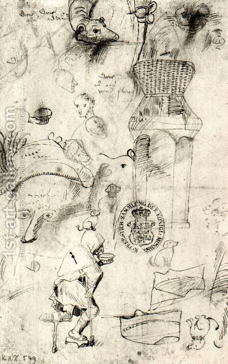 Various sketches and a beggar by Hieronymous Bosch - Reproduction Oil Painting