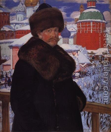 Self Portrait 10 by Boris Kustodiev - Reproduction Oil Painting