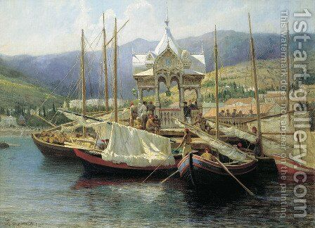 Enbarkement in Yalta by Grigori Grigorievich Mjasoedov - Reproduction Oil Painting