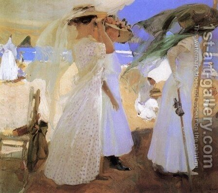 Beneath the Canopy by Joaquin Sorolla y Bastida - Reproduction Oil Painting