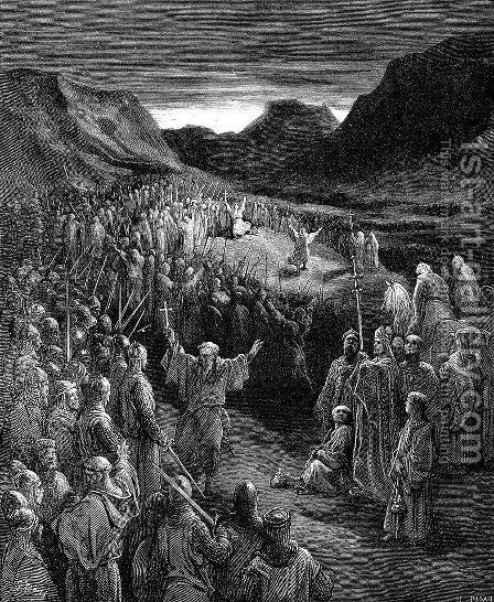 Priests Exhorting the Crusaders by Gustave Dore - Reproduction Oil Painting