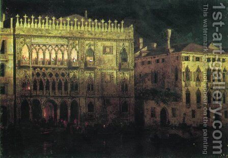 Ka d'Ordo Palace in Venice by moonlight by Ivan Konstantinovich Aivazovsky - Reproduction Oil Painting
