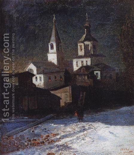 Church of Elijah the ordinary in Moscow by Alexei Kondratyevich Savrasov - Reproduction Oil Painting