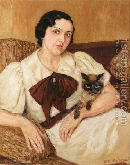 Woman With Cat by Boris Dmitrievich Grigoriev - Reproduction Oil Painting