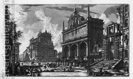 View in perspective of the great Fountain of Trevi said Virgin, architecture Nicola Salvi by Giovanni Battista Piranesi - Reproduction Oil Painting