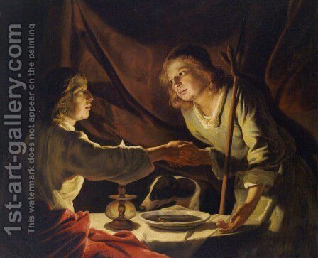 Esau Sold Jacob his Birthright and the Mess of Pottage by Matthias Stomer - Reproduction Oil Painting