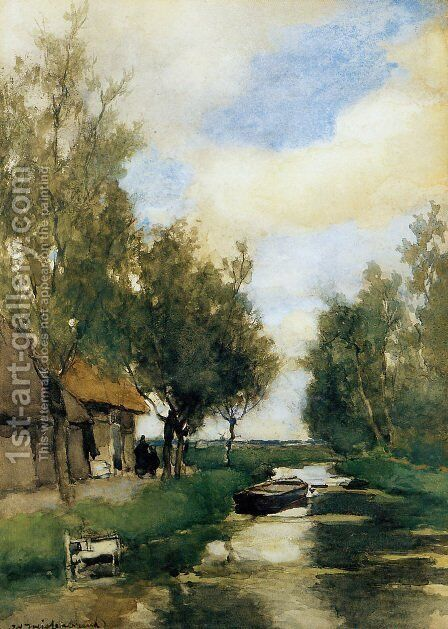 Farm on polder canal by Jan Hendrik Weissenbruch - Reproduction Oil Painting
