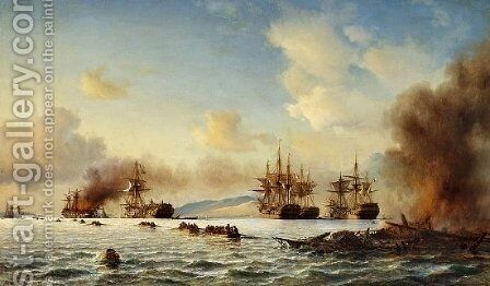 The Battle of Grand Port by Anton Melbye - Reproduction Oil Painting