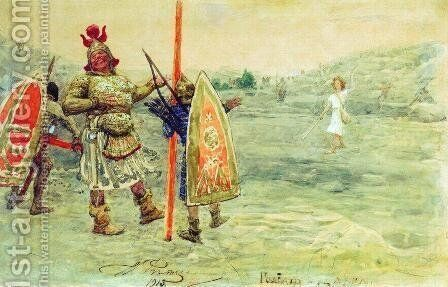 David and Goliath by Ilya Efimovich Efimovich Repin - Reproduction Oil Painting