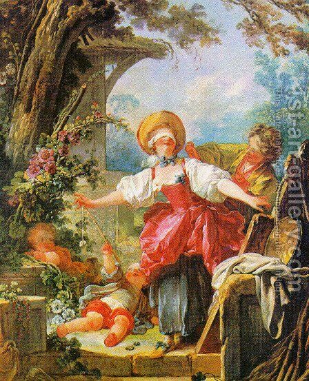Blind Man's Bluff by Jean-Honore Fragonard - Reproduction Oil Painting