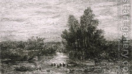 Fisherman on River with Ducks by Charles-Francois Daubigny - Reproduction Oil Painting