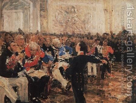 A. Pushkin on the act in the Lyceum on Jan. 8, 1815 by Ilya Efimovich Efimovich Repin - Reproduction Oil Painting