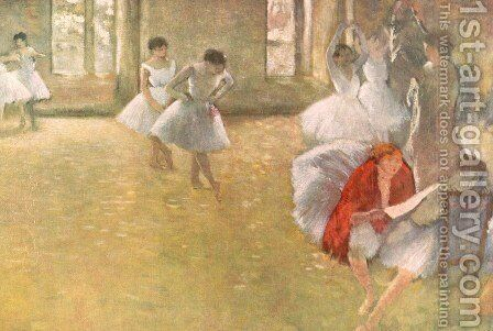Dancers in the Rehearsal Hall by Edgar Degas - Reproduction Oil Painting