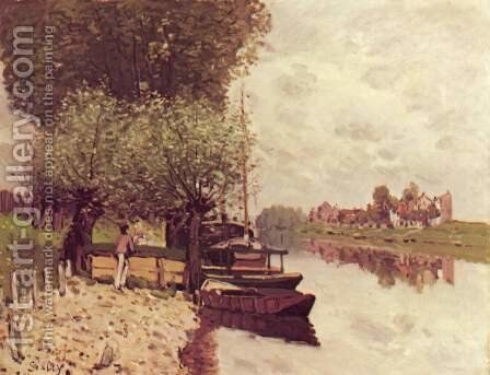 The Seine at Bougival 2 by Alfred Sisley - Reproduction Oil Painting