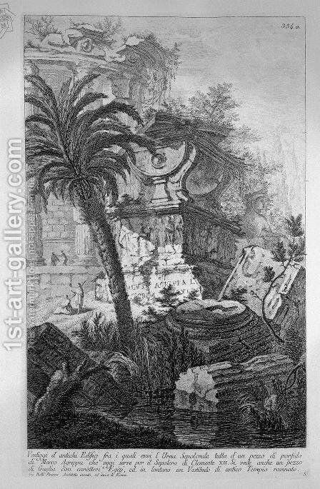 Remains of ancient buildings including the Urn Burial Evvia porphyry of Marcus Agrippa by Giovanni Battista Piranesi - Reproduction Oil Painting