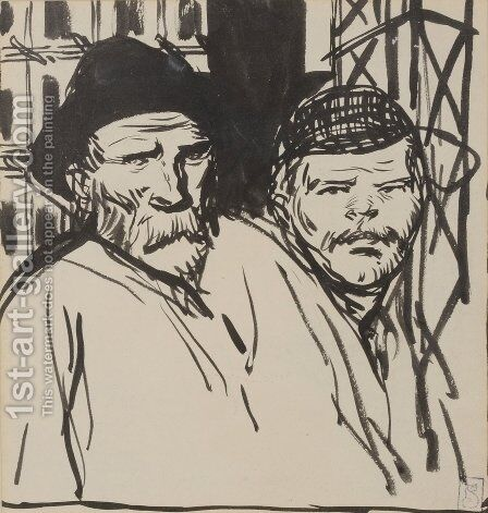 Deux Ouvriers by Theophile Alexandre Steinlen - Reproduction Oil Painting